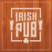 irish pub label on wooden background