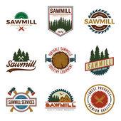 set of sawmill labels badges