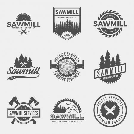 set of sawmill labels, badges