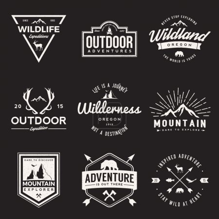 Illustration for Vector set of wilderness and nature exploration vintage  logos, emblems, silhouettes and design elements. outdoor activity symbols with grunge textures - Royalty Free Image