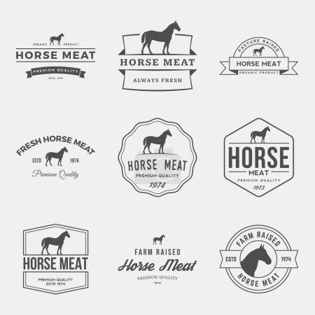set of premium horse meat labels