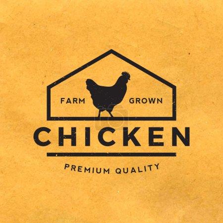 Premium chicken meat label with grunge texture