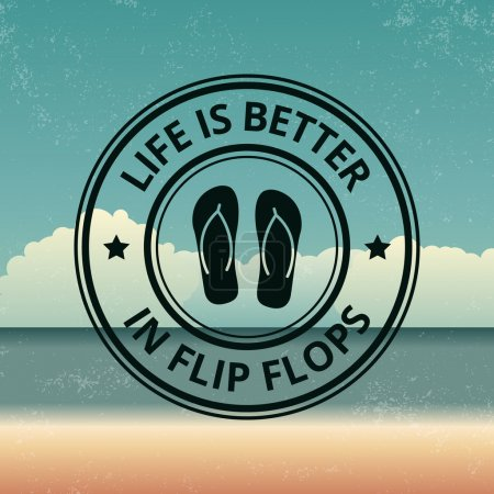 Summer emblem on beach background
