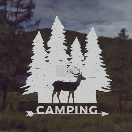 Illustration for Vector camping emblem. outdoor activity symbol with grunge texture on mountain landscape background - Royalty Free Image