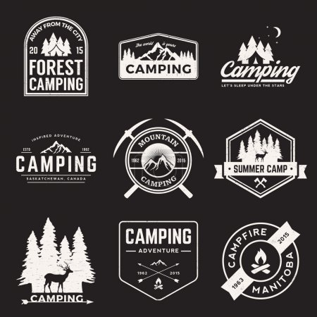 Vector set of camping and outdoor adventure vintage logos