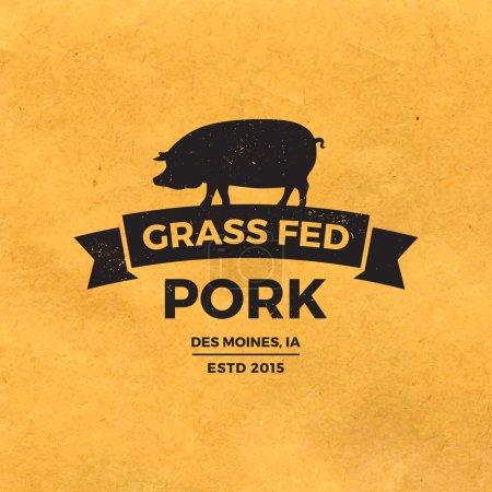 Premium pork label with grunge texture