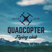 Quadcopter flying club emblem on mountain landscape background
