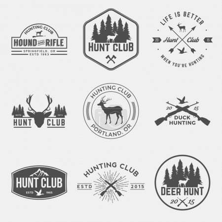 Vector set of hunting club labels