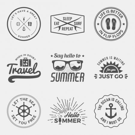 Photo for Vector set of summer quotes, emblems and design elements - Royalty Free Image