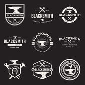 Vector set of blacksmith vintage logos emblems and design elements with grunge texture