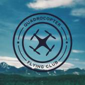 Quadrocopter flying club emblem on mountain landscape background