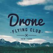Drone flying club emblem on mountain landscape background