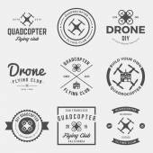 Vector set of drone flying club labels badges and design elements