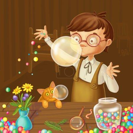 Photo pour Petit garçon bubble-gum joie art peinture numérique - image libre de droit