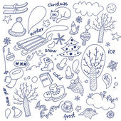 Objects new year winter doodle