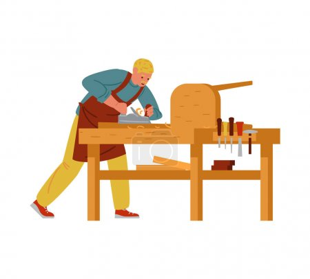Illustration pour Carpenter Making Furniture. Craftsman Flat Vector Characters. Isolated On White. - image libre de droit