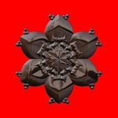 Čokoládové dekorativní vločku izolovaných na červeném pozadí - počítačem generované grafiky
