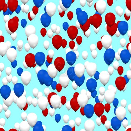 Photo for Red white blue air party balloons on sky - Royalty Free Image