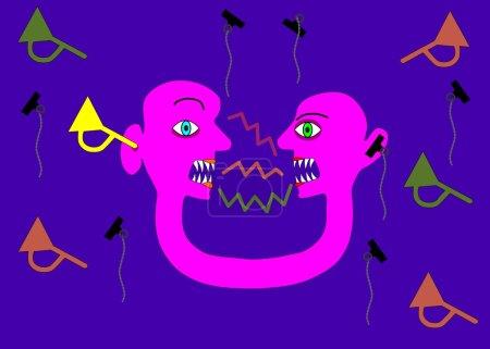 Ilustración de Persona Rosa dos cabezas en la contradicción de la comunicación - Imagen libre de derechos