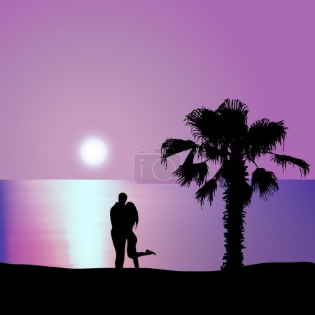 Illustration for Man embraces woman on the seashore at night - Royalty Free Image