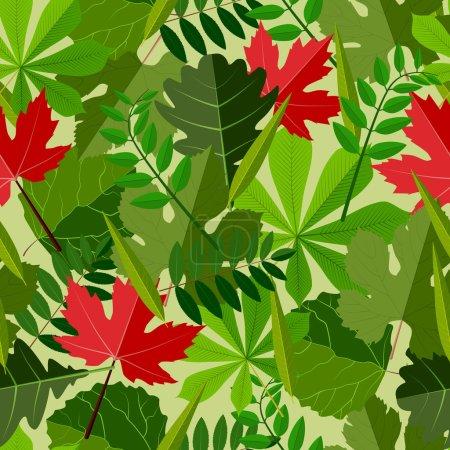 Illustration pour Fond sans couture avec différents types de feuilles, vecteur - image libre de droit