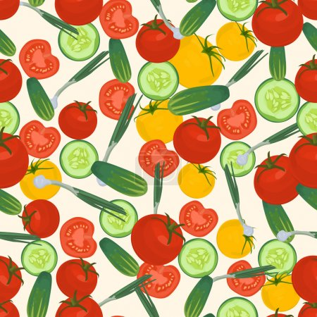 Seamless colorful background made of tomato, green onion etc