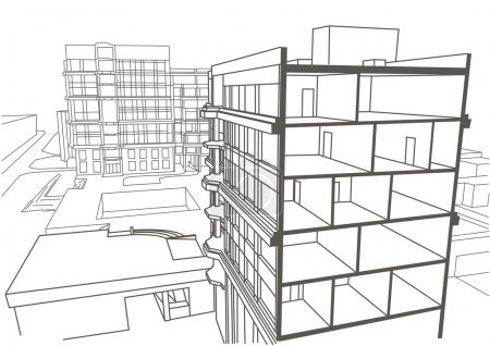 Architectural linear sketch multistory apartment building. Sectional drawing