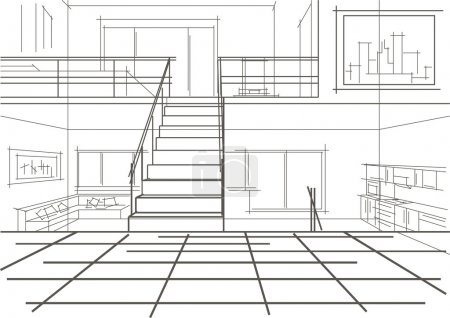 linear sketch of modern interior of a flat in tree levels