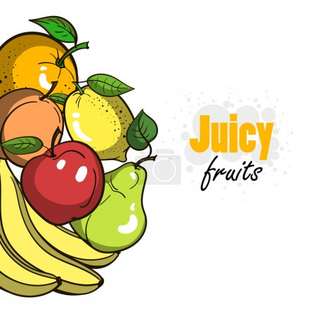 Illustration for Hand drawn fruits on the white background. Vector illustration - Royalty Free Image