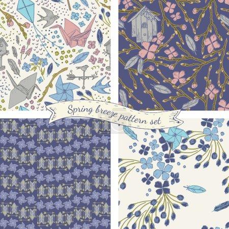 Spring breeze seamless pattern set