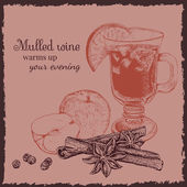 Ink hand drawn mulled wine set Engraving style It can be used for menu design package food background etc