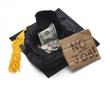 Photo for Graduation Cap with Change Money and No Job Sign Isolated on White Background. - Royalty Free Image