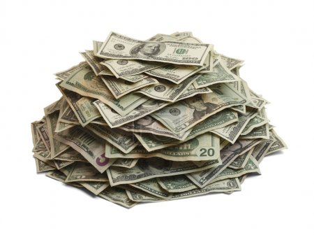 Photo pour Tas d'argent isolée On White Background. - image libre de droit