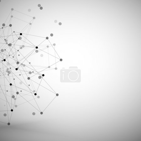 Photo for Molecule structure, gray background illustration for communication. - Royalty Free Image