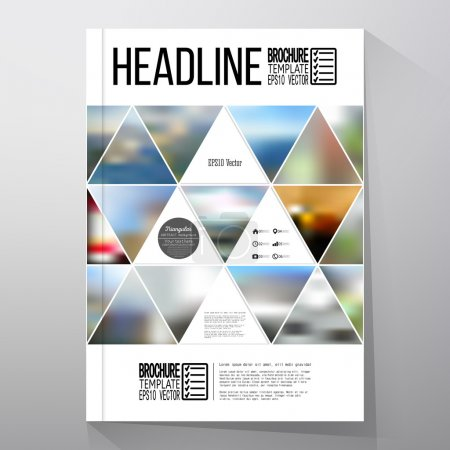 Illustration for Business template for brochure, flyer or booklet. Abstract multicolored background of blurred nature landscapes, geometric vector, triangular style illustration - Royalty Free Image