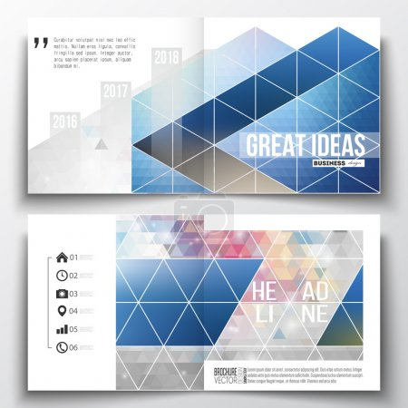 Set of annual report business templates for brochure, magazine, flyer or booklet. Abstract colorful polygonal background with blurred image on it, modern stylish triangle vector texture
