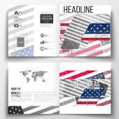 Set of annual report business templates for brochure, magazine, flyer or booklet. Memorial Day background with abstract american flag, vector illustration