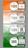 Set of modern gift voucher templates Background for Happy Indian Independence Day celebration with Ashoka wheel and national flag colors vector illustration