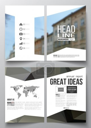 Set of business templates for brochure, magazine, flyer, booklet or annual report. Polygonal background, blurred image, modern triangular texture