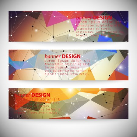 Illustration for Set with polygonal abstract shapes, circles, lines and triangles. - Royalty Free Image