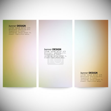 Set of vertical banners. Abstract multicolored defocused lights background vector illustration