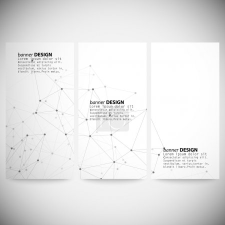 Set of vertical banners. Molecule structure, gray background for communication, vector illustration