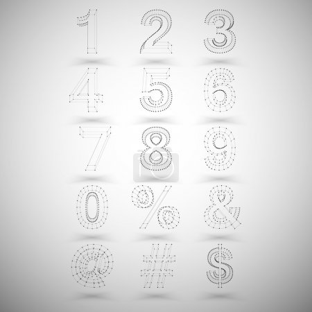 Three dimensional mesh stylish numbers and other symbols on white background, single color clear vector