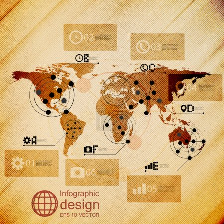 World map, infographic design illustration, wooden background vector.
