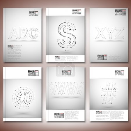 Three dimensional mesh stylish inscriptions - abc, www, xyz. Brochure, flyer or report for business, templates vector