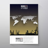 Shipyard harbor skyline world map night design vector Brochure flyer or report for business templates vector
