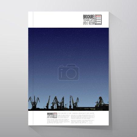 Shipyard, harbor skyline, night design vector. Brochure, flyer or report for business, templates vector