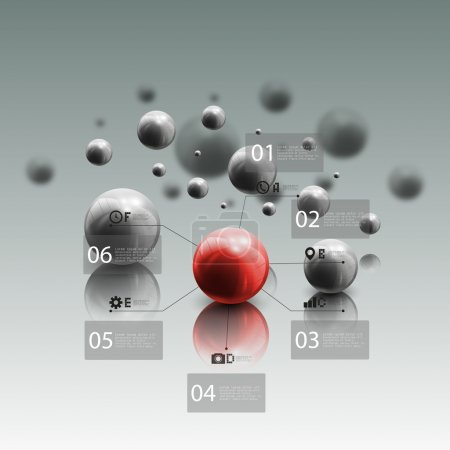 Spheres in motion on gray background. Red sphere with infographic elements for business, abstract geometric pattern vector illustration