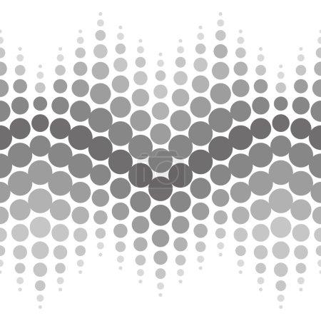 Illustration pour Motif vectoriel sans couture demi-teinte. Résumé en pointillés fond noir et blanc - image libre de droit