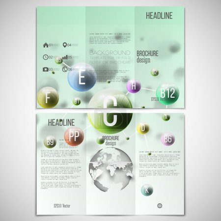 Vector set of tri-fold brochure design template on both sides with world globe element. Three dimensional glowing color spheres, green background. Abstract colorful vitamins. Scientific or medical